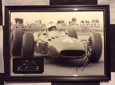 John Surtees Genuine Hand Signed Photo With Plaque, A4, F1, JANUARY SALE!