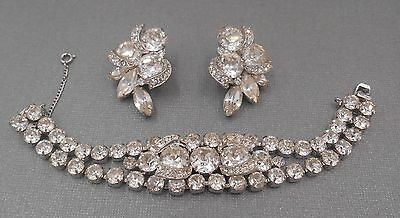 Estate Jewelry Lot Vintage Rhinestones Signed Elegant Eisenberg Bracelet Set