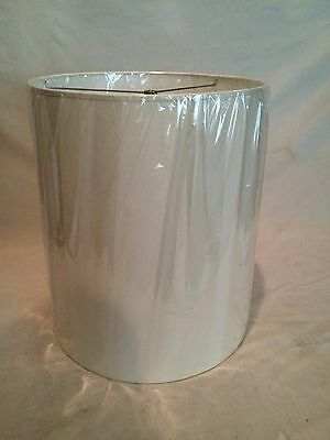"""Tall Contemporary/ mid century Fabric Drum Lamp shade 18"""" Tall light White color"""