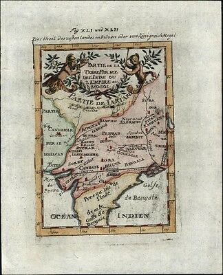 India Mogul Empire Tartary Bengal w/ cartouche 1719 antique hand color map
