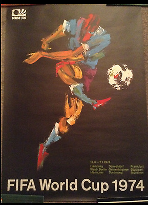 RARE original 1974 World Cup poster with original German tube from March 1973