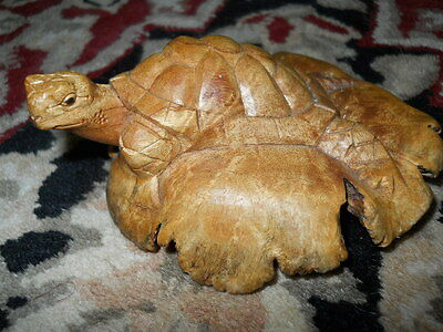 Parasite Wood Turtle Hand Carved  Decor Figurine