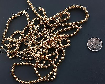 "AAntique 72"" Gold Mercury Glass Miniature Bead Feather Tree Christmas Garland"