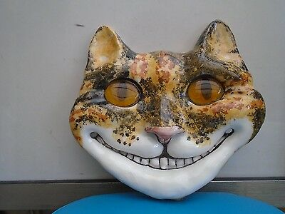 quirky large WINSTANLEY cat mask   unusual grinning cheshire cat with glass eyes