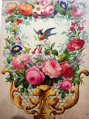 Flowers and Bird Still Life , Fine Watercolor on Paper , 19th Century , French