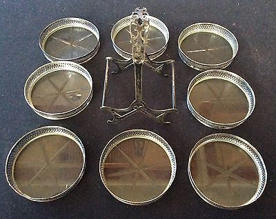 8 Webster Sterling Silver and Glass Coasters with Caddy