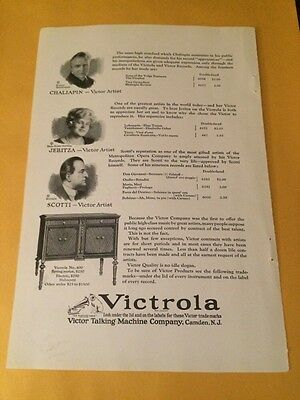 Antique 1923 Print Ad for Victrola Model 400- Very Nice!!