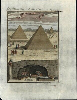 Ancient Pyramids of Giza Egypt Africa Nile mummies tourists 1719 antique view