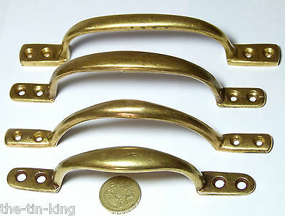 Lot X4 Antique/vintage Brass Pull Handles Door Gate Drawer Sash Cupboard