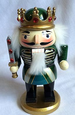 Wooden King With Sword Christmas Nutcracker Jeweled Crown White Fuzzy Hair