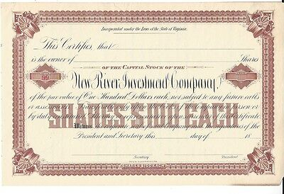 New River Investment Company....1800's Unissued Stock Certificate