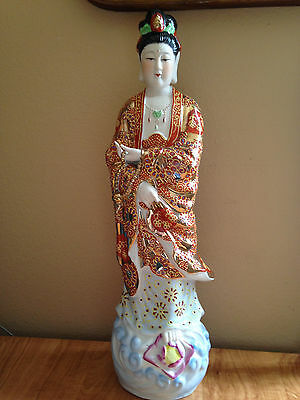 Chinese KWAN YIN GODDESS Standing Multi-Color Porcelain Statue 19'' tall