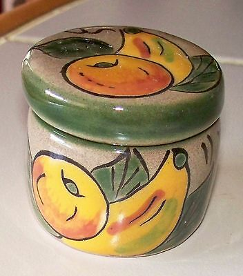 New Mexican Clay Pottery Hand Painted Fruit Round Trinket Box / Candle Holder PB