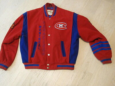 NHL Montreal Canadiens Prince of Wales Conference jacket vintage L wool bomber