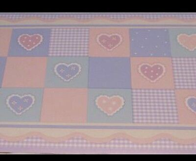 Kidsline Amore Hearts Wall Paper Border 3013WB Pink Lilac Purple Gingham 30 Ft