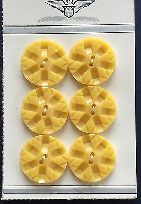 Vintage Buttons - 6 Yellow Color Carved 2 Hole Casein buttons