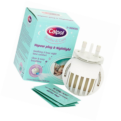 Calpol Vapouriser Night Plug In & 5 Refill Pads For Clear and Easy Breathing