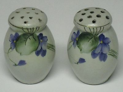 Vintage Hand Painted Purple Violets Flowers Salt & Pepper Shakers JAPAN - VGC!