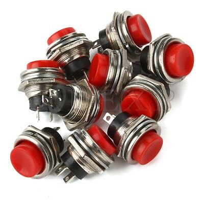 10 x Red Momentary OFF-ON Push Button Switch 3A 125V 16mm