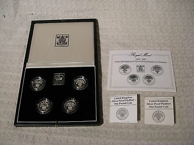 Royal Mint 1984-87 Silver Proof Piedfort £1 Pound 4 Coin Collection Set
