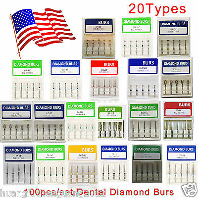 100pcs Dental Diamond Burs for High Speed Handpiece Medium FG 1.6MM Bur 20Box US