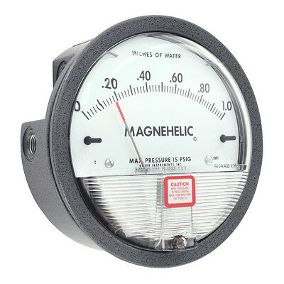 "Dwyer Magnehelic 2000-0 Differential pressure gage, 0-0.50"" w.c.  New & complete"