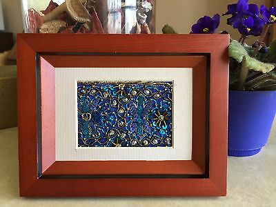 Textile ACEO Art Card Beaded Embroidered Vintage India Sari Material Framed