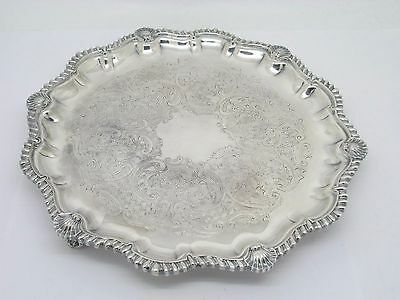 Csc Silverplate Shell Border Footed Card / Serving Tray