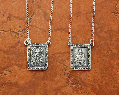 SSN160 CATHOLIC Scapular Sterling Silver Pendants are 11/16 inch on 25 in chain