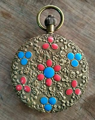 Chinese ancient copper pattern delicate hand mechanical pocket watch