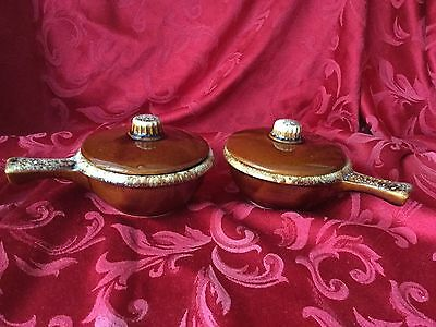 Hull Oven Proof Brown Drip Stoneware Soup Grab It Bowls & Lids - Set of 2