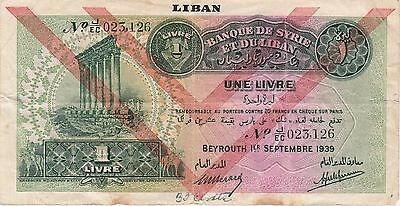 Lebanon,1 Livre Banknote,1.9.1939 Very Fine Condition Cat#26-D-3126