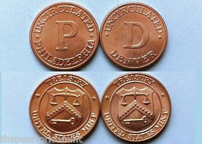 1980 's  Scarcer PHILADELPHIA & DENVER US MINT Facilites Offical Penny Medals