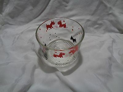vintage scottie scotty dog glass ice bucket red & black dogs and stars no flaws