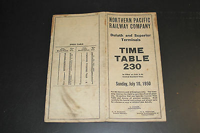 Northern Pacific Employee Time Table 230 - Duluth & Superior Terminals July 1950