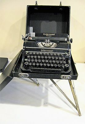Vintage Underwood Champion Portable Typewriter with Rare Fold-out Case Stand