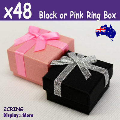 PREMIUM Quality 48X RING Gift Box-5x5cm | Black or Pink | AUSSIE Seller