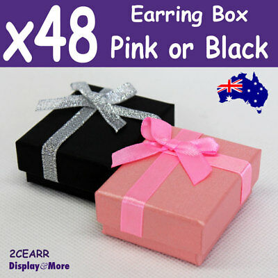 PREMIUM Quality 48X EARRING Gift Box-5x6cm | Pink or Black | AUSSIE Seller
