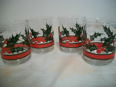 Set Of 4 Libbey Holly And Berry Rocke Sharp Tumbler Glasses