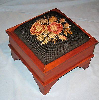 ANTIQUE SOLID CHERRY EMPIRE FOOT STOOL ORIGINAL FINISH & NEEDLEPOINT TOP 1840's