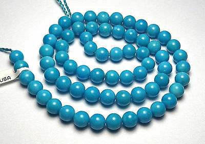 "15.5"" Strand SLEEPING BEAUTY TURQUOISE 6mm Round Beads AA+ NATURAL COLOR /R18"