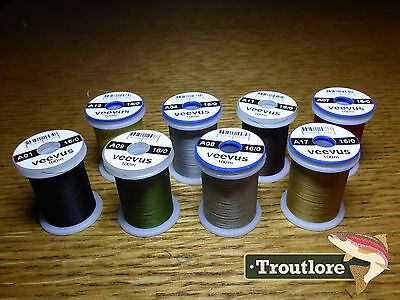 8 x SPOOLS 16/0 VEEVUS THREAD - NEW FLY TYING SUPPLIES & MATERIALS