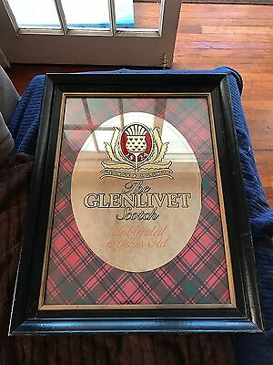FRAMED GLENLIVET SCOTH MIRROR IN GOOD CONDITION WITH 1 FLAW (See Description)