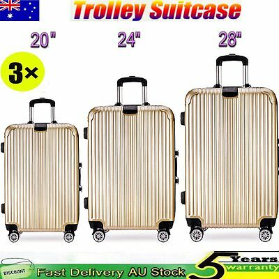 3x Luggage Suitcase Trolley Set Travel Carry On Bag Lightweight TSA Hard Case