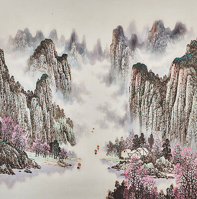 """26"""" Traditional Chinese Landscape Watercolor Silkprint: Spring Gorge & Mountains"""