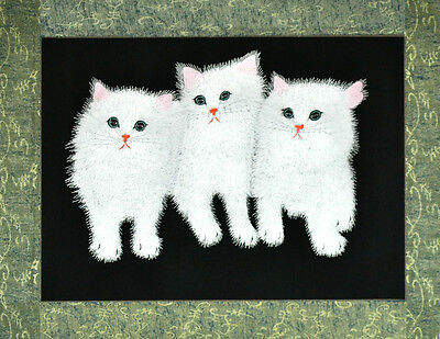 """18"""" Brocaded Chinese Traditional Silk Embroidery Painting: Cute Persian Cats"""