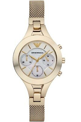 ** NEW ** Emporio Armani® watch AR7390 Ladie`s Gold Chronograph Mother Of Pearl