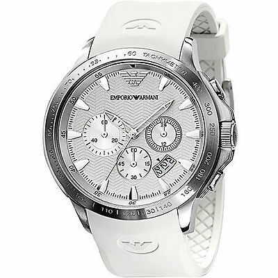 ** NEW **Emporio Armani® watch AR5850 , White , mens CHRONOGRAPH