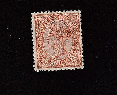 QUEENSLAND # 96 VF-VERY LIGHT USED 2sh QUEEN VICTORIA CAT VALUE $57.50
