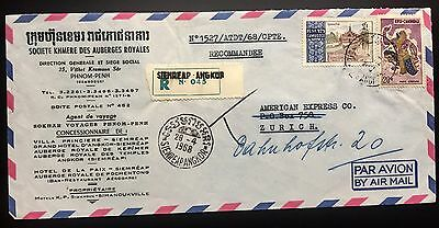 Cambodia Cambodge Registered Cover From Siemreap Angkor To Zurich 1968